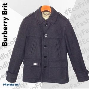 Burberry Brit Checked Lined Wool Coat in Gray